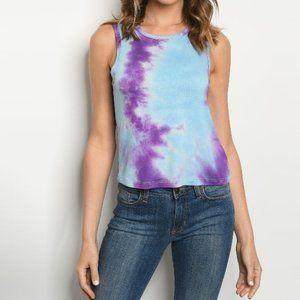 Women's Soft Knit Sleeveless Tie Dye Tank Top